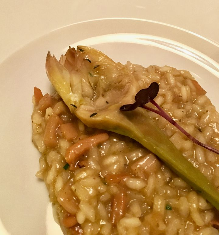 <p>Risotto of squid and artichoke at the Savoy restaurant in the hotel</p>