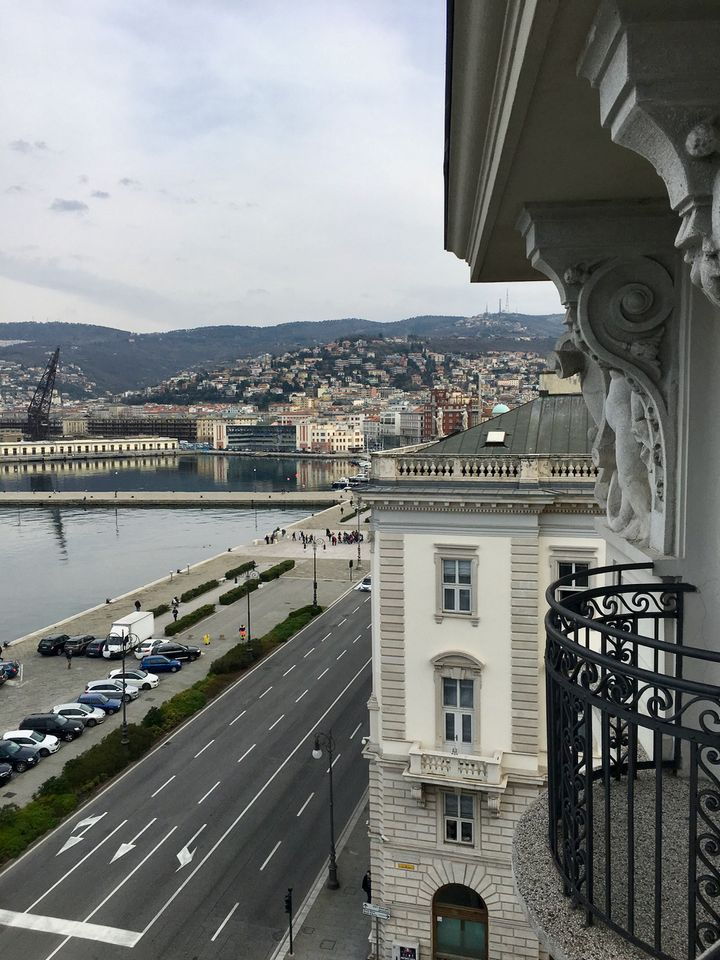 <p>The view from our room: Trieste is a hilly town</p>