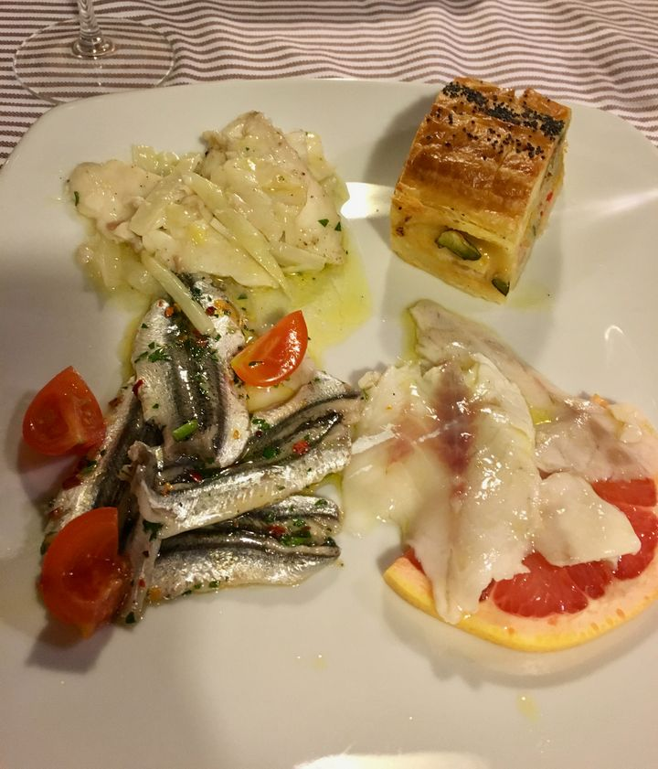 Warm and cold seafood antipasti at Osteria l'Istriano, Trieste