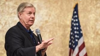 COLUMBIA, SC - MARCH 25: Sen. Lindsey Graham (R-SC) addresses constituents during a town hall meeting March 25, 2017 in Columbia, South Carolina. Protestors have been showing up in large numbers to congressional town hall meetings across the nation. (Photo by Sean Rayford/Getty Images)