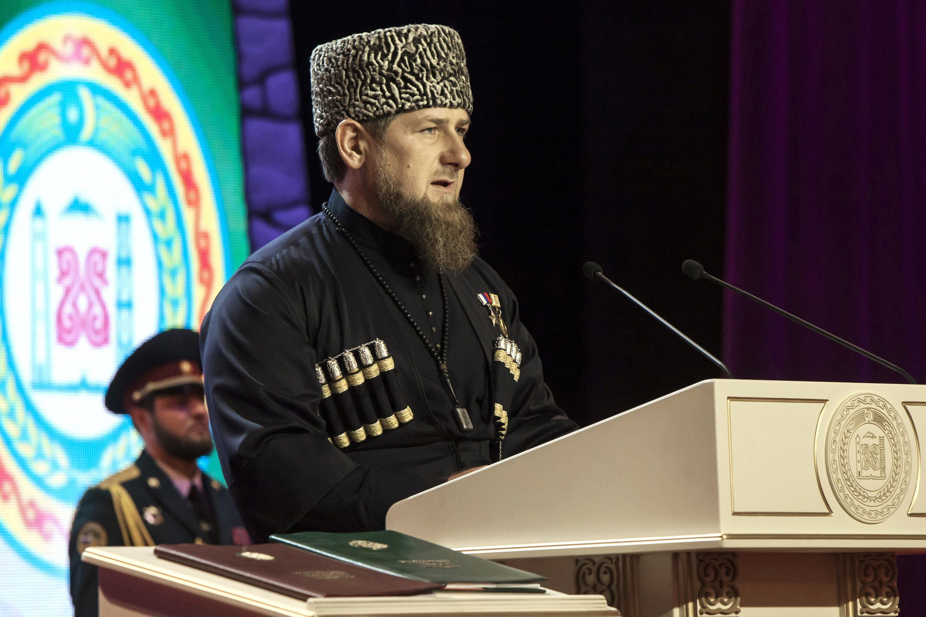 Ramzan Kadyrov, the head of the Chechen Republic, is seen being sworn into office in 2016 after being re-elected for a third