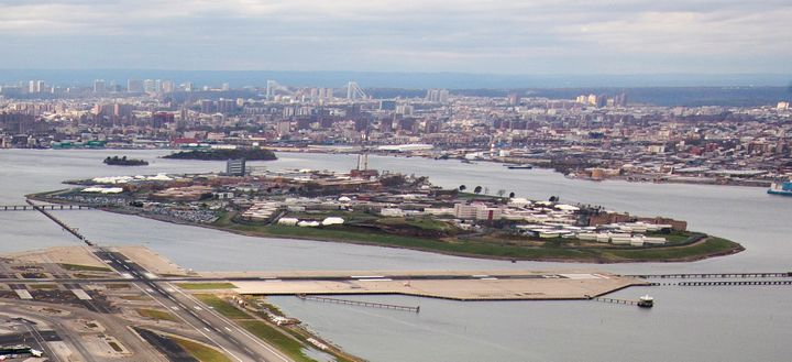 Rikers Island is seen in an aerial photograph taken in New York on Oct. 31, 2012.