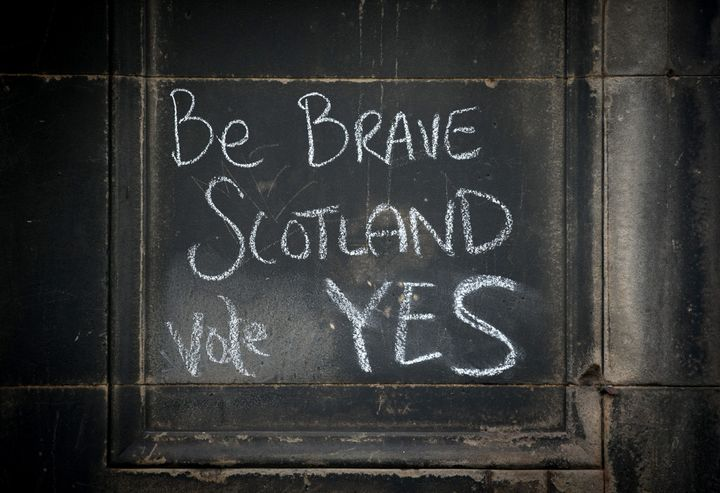 Graffiti written on a wall in support of the Yes vote ahead of the 2014 vote.