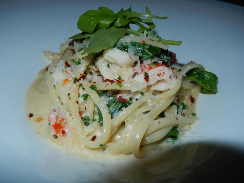 <em>Cliff signature  starter is lobster with linguine, rocket, chive sauce and chili pepper.  </em>