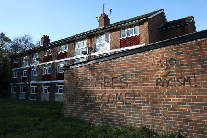 Graffiti is seen on a wall near the scene of a violent attack in Croydon, London.