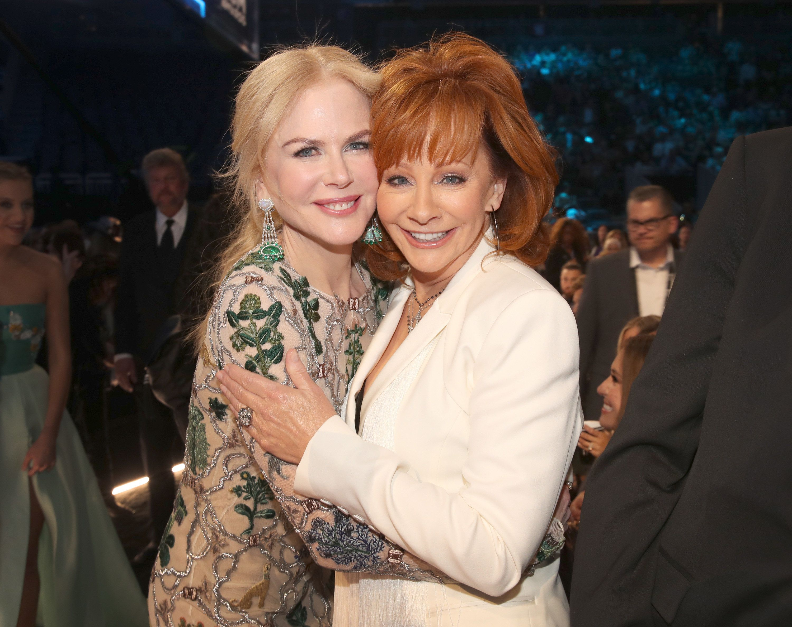 LAS VEGAS, NV - APRIL 02:  Actor Nicole Kidman (L) and music artist Reba McEntire during the 52nd Academy Of Country Music Awards at T-Mobile Arena on April 2, 2017 in Las Vegas, Nevada.  (Photo by Chris Polk/ACMA2017/Getty Images for ACM)