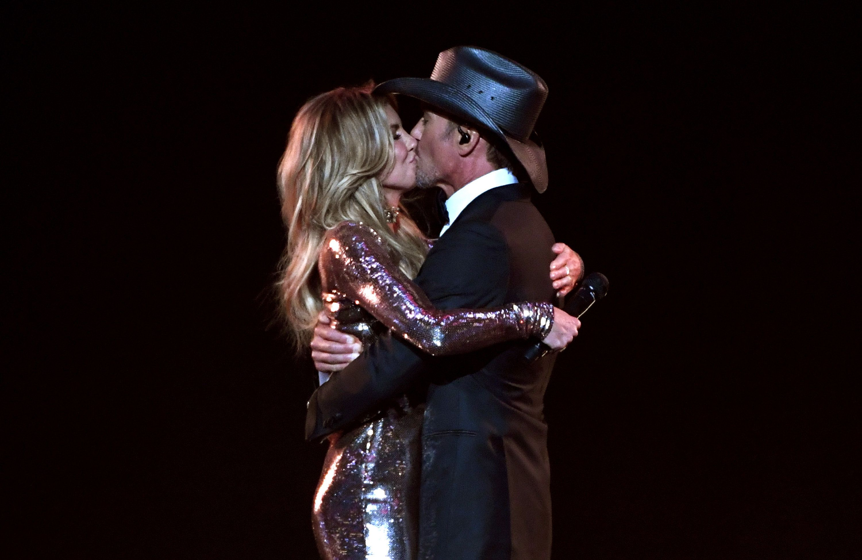 Faith Hill and Tim McGraw perform onstage during the 52nd Academy Of Country Music Awards.