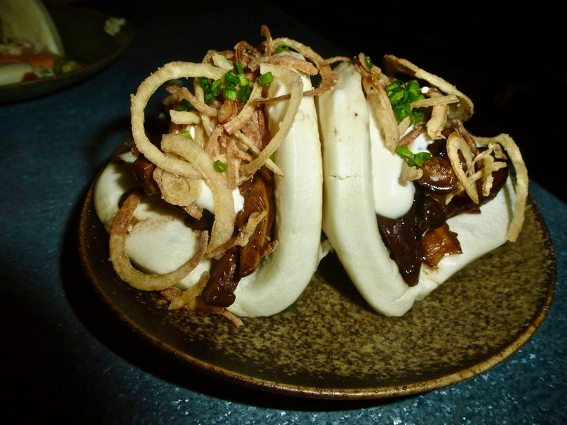 Test the Baos (steamed, filled soft Chinese buns shaped like a pillowed taco) and try the Shitake.