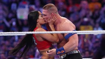 John Cena proposes to Nikki Bella during WrestleMania 33 on Sunday, April 2, 2017 at Camping World Stadium in Orlando, Fla. (Stephen M. Dowell/Orlando Sentinel/TNS via Getty Images)