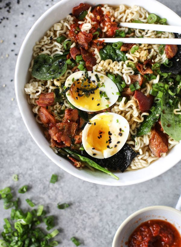"<strong>Get the <a href=""http://www.howsweeteats.com/2016/11/bacon-egg-ramen/"" target=""_blank"">Bacon and Egg Ramen recipe</a>"