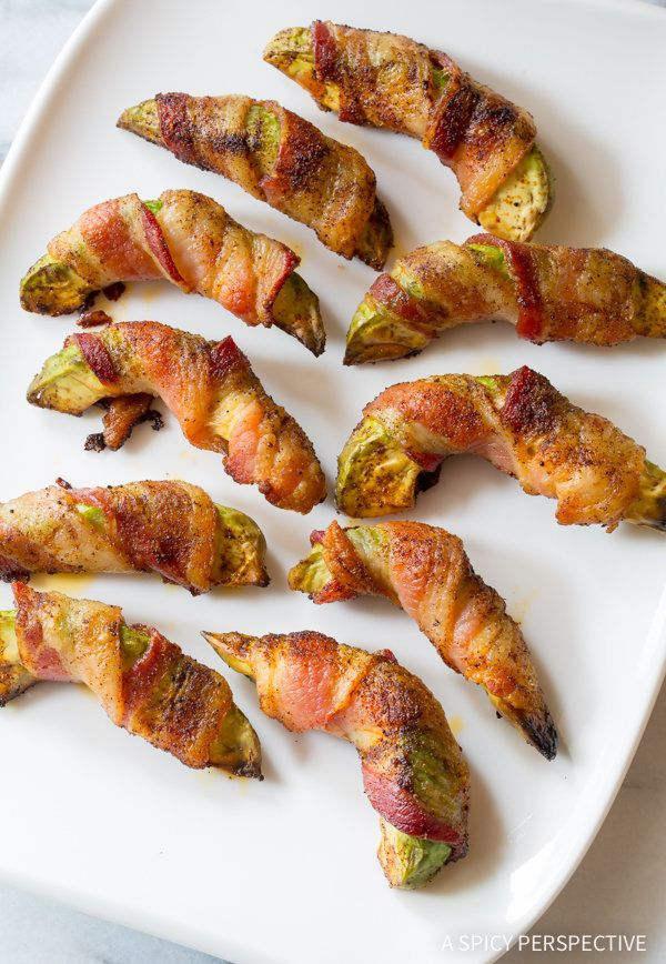 "<strong>Get the <a href=""http://www.aspicyperspective.com/bacon-wrapped-avocado-low-carb/"" target=""_blank"">Bacon-Wrapped Avoc"