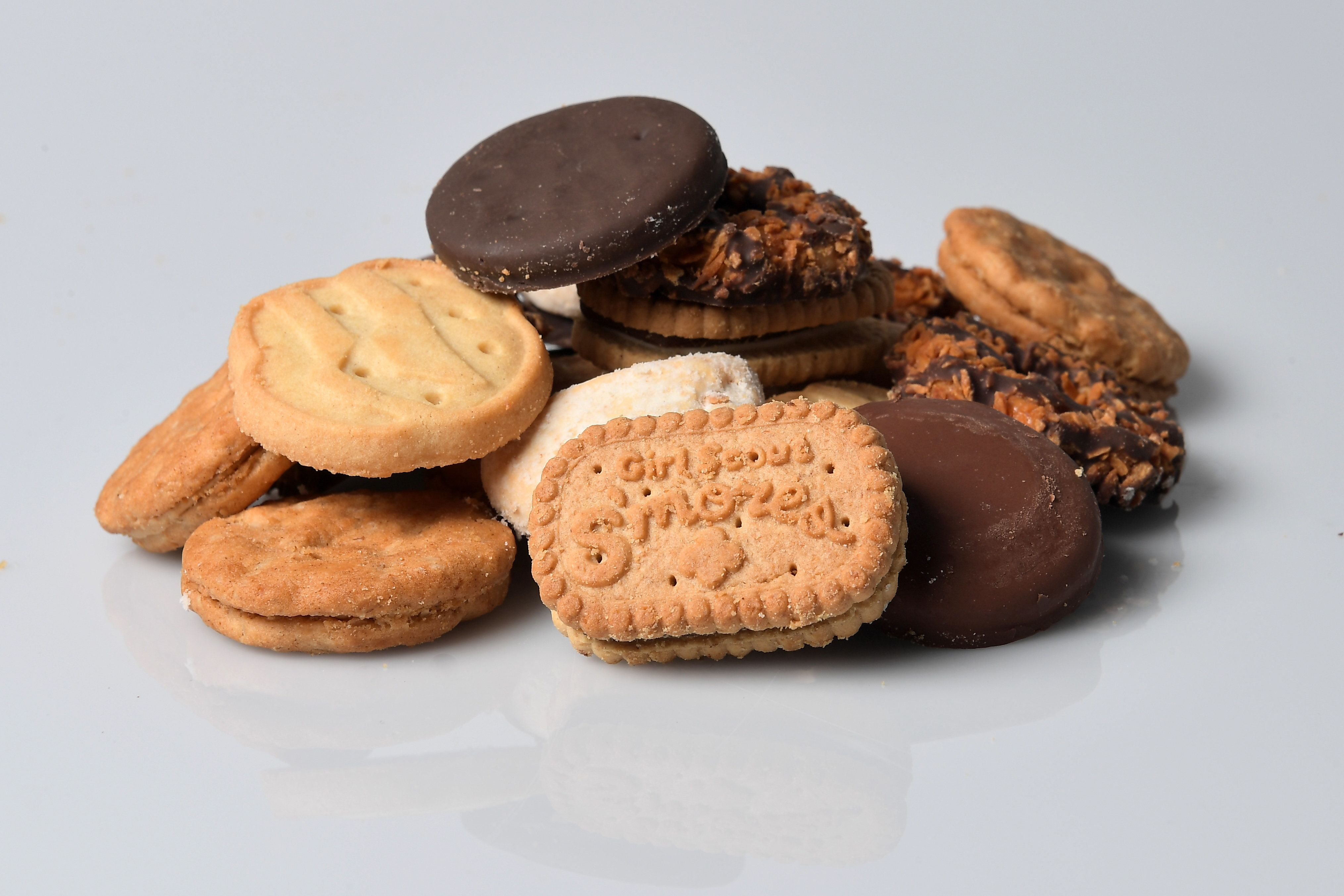 WASHINGTON, DC - JANUARY 11: The seven Girl Scout cookies available are  the newest, Girl Scout S'mores, Samoas, Do-si-dos, Tagalongs, Trefoils, Savannah Smiles and top seller Thin Mints photographed January 11, 2017 in Washington, DC. (Photo by Katherine Frey/The Washington Post via Getty Images)