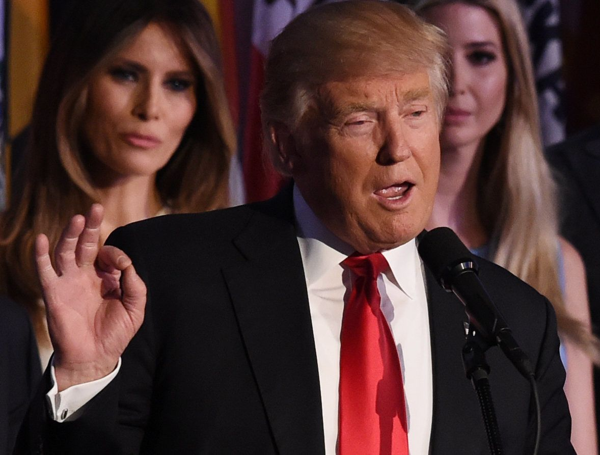 Republican presidential candidate Donald Trump flanked by members of his family speaks to supporters during election night at the New York Hilton Midtown in New York on November 9, 2016.  Trump won the US presidency. / AFP / Timothy A. CLARY        (Photo credit should read TIMOTHY A. CLARY/AFP/Getty Images)