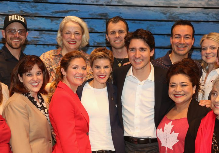 "Canadian Prime Minister Justin Trudeau poses with the ""Come From Away"" cast."