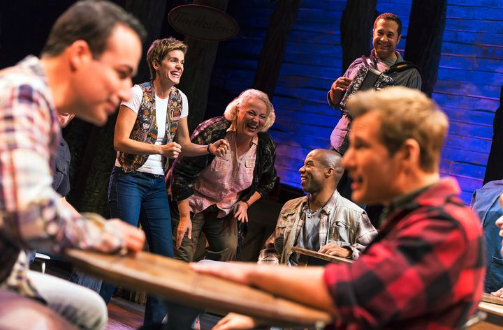 "In ""Come From Away,"" Samayoa (front, left) plays one half of a gay couple whose plane is diverted to Gander, Newfoundlan"