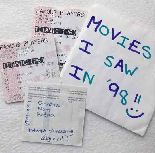 """""""The capsule is rich with obsessive documentation, like each movie ticket, saved with a rating system and details of my"""