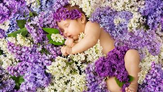 baby in lilac flowers, newborn child greeting card, small new born girl sleeping on floral background