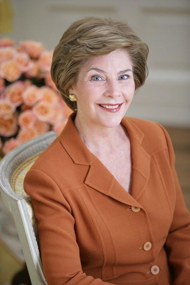 LB [i.e. Laura Bush] official portrait The yellow oval,