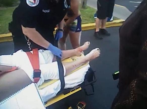 A 17-year-old girl was treated for injuries to her legs after being bitten by a shark off Florida's panhandle on Sunday.