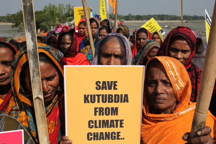 Victims of climate change demand justice for climate refugees on the occasion of the Global Climate March, on Nov. 28, 2015, in Kutubdia Island, Bangladesh.