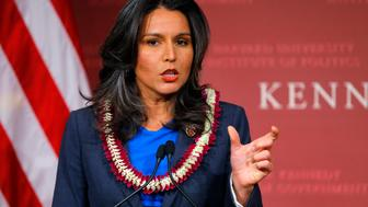U.S. Representative Tulsi Gabbard (D-HI) speaks after being awarded a Frontier Award during a ceremony at the Kennedy School of Government at Harvard University in Cambridge, Massachusetts November 25, 2013.      REUTERS/Brian Snyder    (UNITED STATES - Tags: EDUCATION POLITICS)