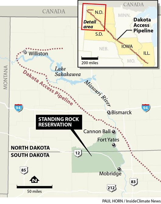A map of the Standing Rock reservation in North Dakota.