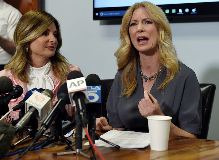 Attorney Lisa Bloom, left, and Dr. Wendy Walsh, right, discuss Walsh's sexual harassment allegations against Fox News host Bi