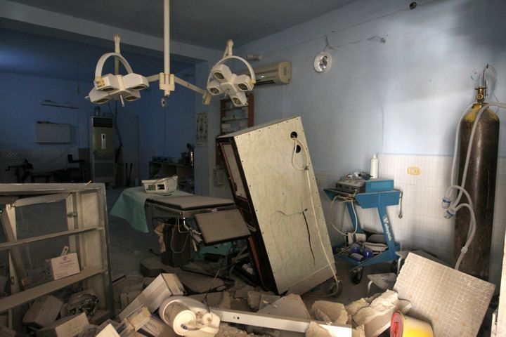 A view shows the damage inside Anadan Hospital, sponsored by Union of Medical Care and Relief Organizations, after it was hit