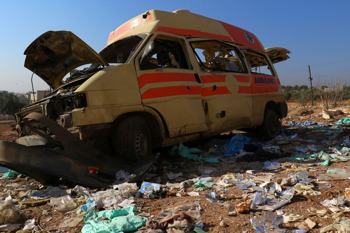 A damaged ambulance stands abandoned after an airstrike in Atareb in November 2016.
