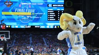 GLENDALE, AZ - APRIL 01:  The North Carolina Tar Heels mascot performs against the Oregon Ducks during the 2017 NCAA Men's Final Four Semifinal at University of Phoenix Stadium on April 1, 2017 in Glendale, Arizona.  (Photo by Tom Pennington/Getty Images)