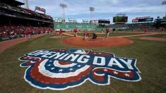 BOSTON, MA - APRIL 03: Grounds crew prepare the field for an opening day game between the Boston Red Sox and the Pittsburgh Pirates at Fenway Park on April 3, 2017 in Boston, Massachusetts. (Photo by Michael Ivins/Boston Red Sox/Getty Images)