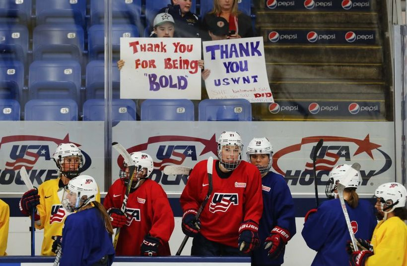 Fans show their support during the U.S. women's national team practice.
