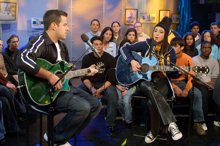 "Carson Daly and Michelle Branch on ""TRL"" in 2002."