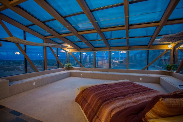 The master bedroom is big on space.