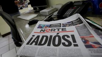 "El Norte newspaper is pictured after the paper announced its closure due to what it says is a situation of violence against journalists in Ciudad Juarez, Mexico, April 2, 2017. The word reads, ""Goodbye!"". REUTERS/Jose Luis Gonzalez     TPX IMAGES OF THE DAY"