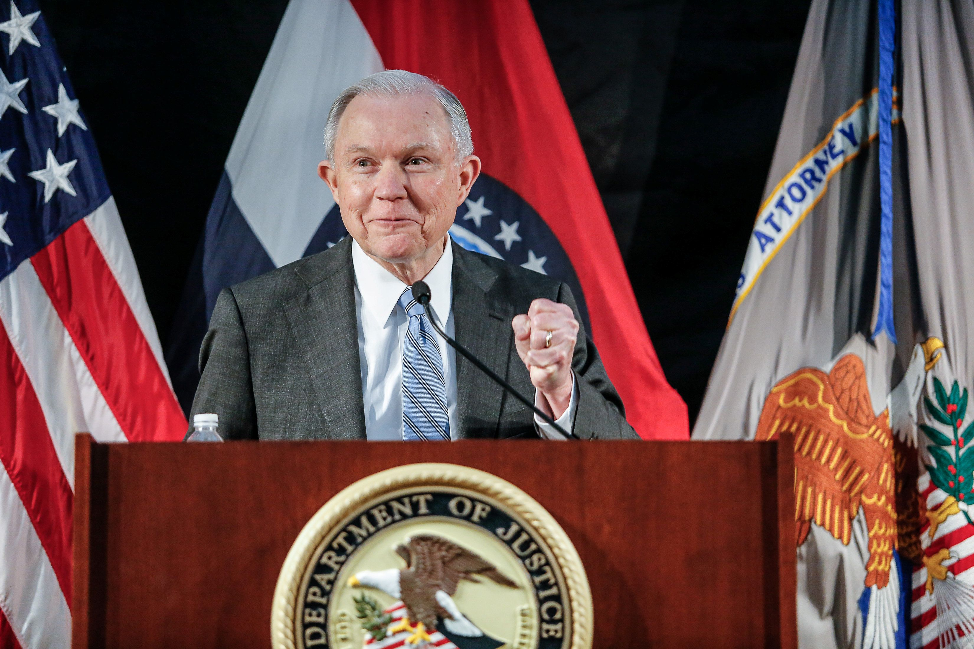 U.S. Attorney General Jeff Sessions speaks to law enforcement officers at the Thomas Eagleton U.S. Courthouse in St. Louis Missouri, U.S. March 31, 2017.  REUTERS/Lawrence Bryant