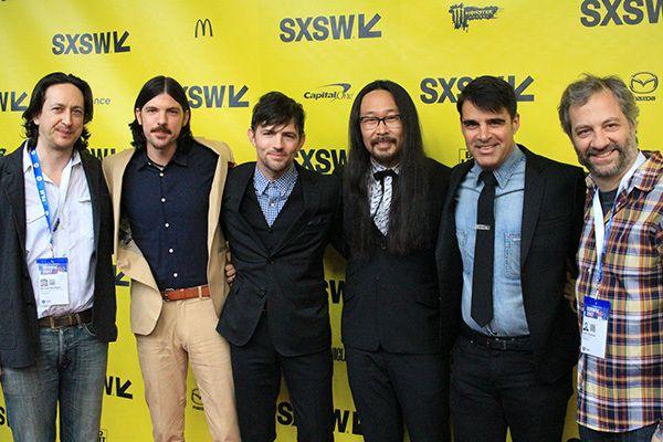 from left to right: Michael Bonfiglio, Seth Avett, Scott Avett, Joe Kwon, Bob Crawford, and Judd Apatow