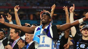 GLENDALE, AZ - APRIL 03: Theo Pinson #1 of the North Carolina Tar Heels celebrates after defeating the Gonzaga Bulldogs during the 2017 NCAA Men's Final Four National Championship game at University of Phoenix Stadium on April 3, 2017 in Glendale, Arizona. The Tar Heels defeated the Bulldogs 71-65. (Photo by Ronald Martinez/Getty Images)