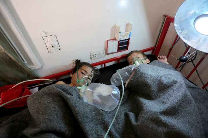 Children get treatment at a hospital after Assad forces attacked Idlib, Syria on Tuesday.