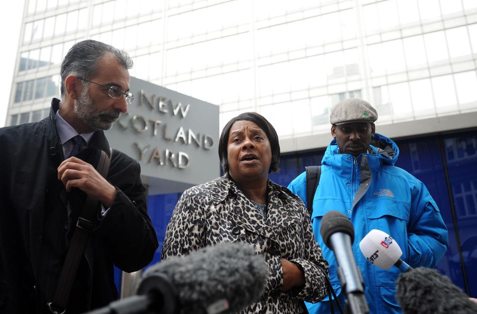 Doreen Lawrence, the mother of murdered teenager Stephen Lawrence, talks to the media, with her son Stuart...