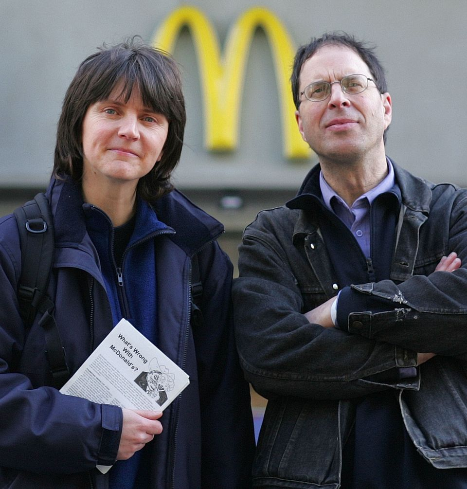 Helen Steel (L) and David Morris stand outside McDonald's restaurant in central London following...
