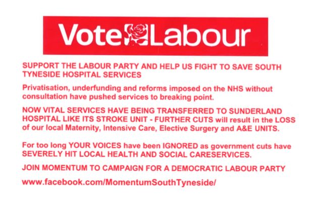 Leaflet distributed advertising South Tyneside Momentum which criticises the local Labour