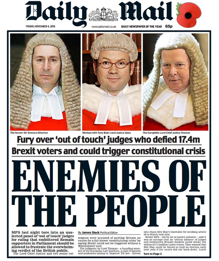 May refused to criticise the Mail over its front page slamming the judges who ruled against the Government over Brexit