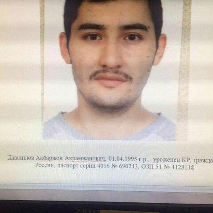 Suspect Akbarzhon Jalilov is shown in this police handout photo, obtained by 5th Channel, Russia April 4, 2017.