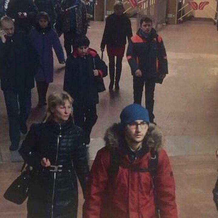A still image of suspect Akbarzhon Jalilov walking at St Petersburg's metro station is shown in this police handout photo obt