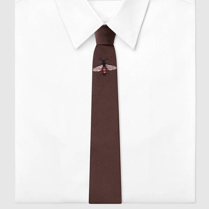 "<p><em>Gucci bee embroidered silk tie, $200, buy now at</em> <a rel=""nofollow"" href=""https://www.gucci.com/us/en/pr/men/mens-accessories/mens-ties/mens-ties/bee-underknot-silk-tie-p-4521764E0022000"" target=""_blank"">gucci.com</a></p>"
