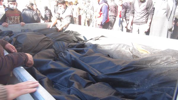 Bodies of chlorine gas victims are seen after Assad regime forces attacked with chlorine gas.