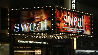 NEW YORK, NY - MARCH 26:  Theatre Marquee for the Broadway Opening Night of 'Sweat' at Studio 54 on March 26, 2017 in New York City.  (Photo by Walter McBride/WireImage)