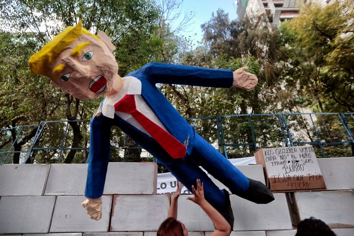 A protest against Donald Trump's inauguration in Mexico City on Jan. 20.