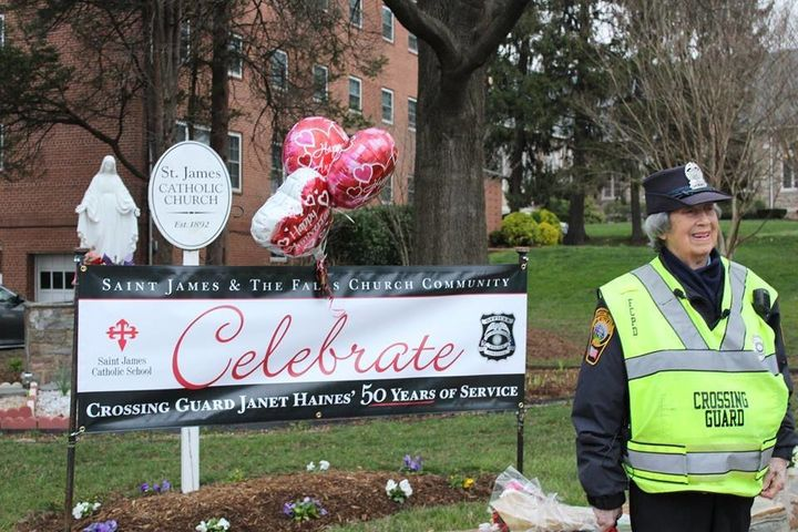 Janet Haines recently celebrated 50 years of service as a crossing guard in Falls Church, Virginia.